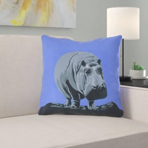 Hansard Vintage Hippo Zoo Poster Throw Pillow with Zipper Size: 16