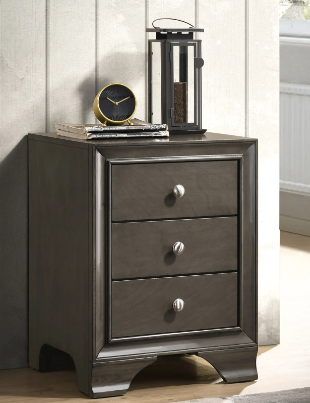 Deasia 3 Drawer Nightstand Color: Gray