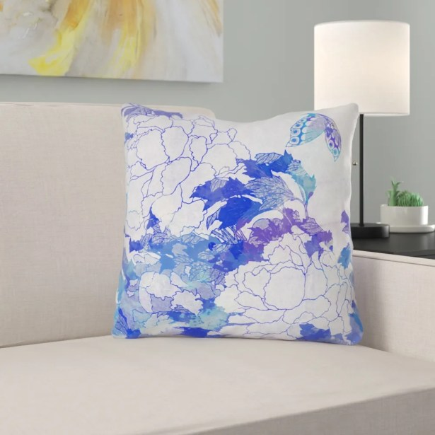 Raritan Watercolor Peonies and Butterfly Square Throw Pillow Size: 20