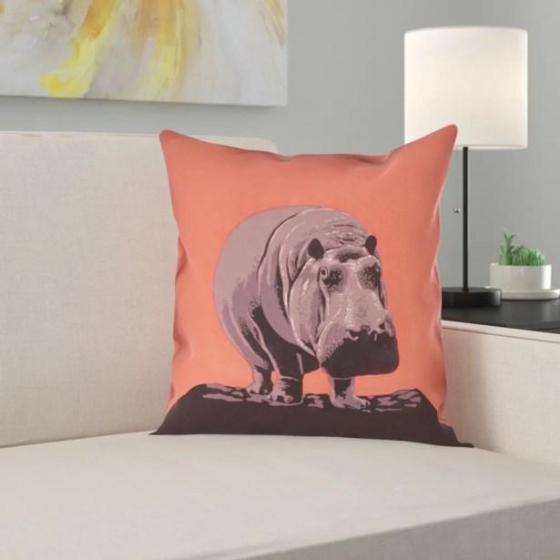 Hansard Vintage Hippo Zoo Poster 100% Cotton Pillow Cover Size: 26