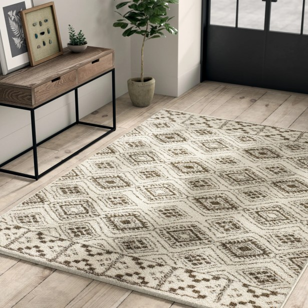 Battlefield Tribal Ivory/Brown Area Rug Rug Size: Rectangle 6'7