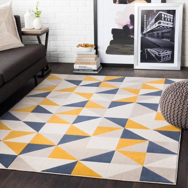 Huerta Geometric Mustard/Charcoal Area Rug Rug Size: Rectangle 7'10