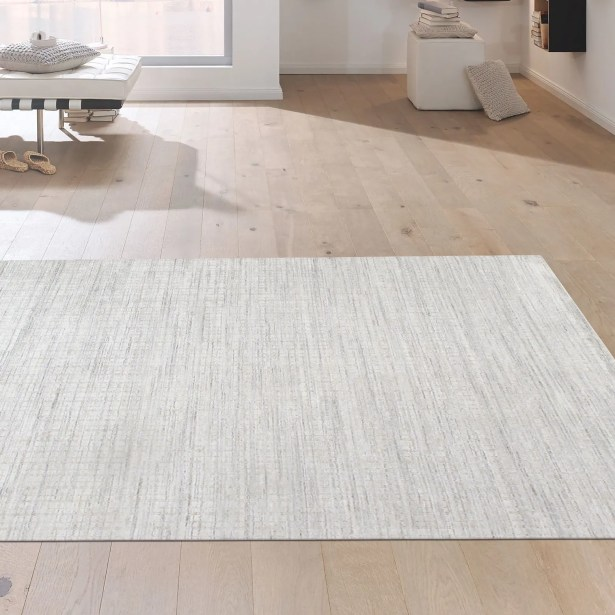 Slate Hand Knotted Silk and Wool Ivory Area Rug Rug Size: Rectangle 8' x 10'