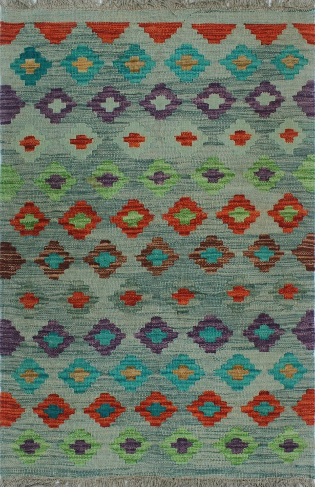 Corda Hand-Knotted Wool Blue/Red Area Rug