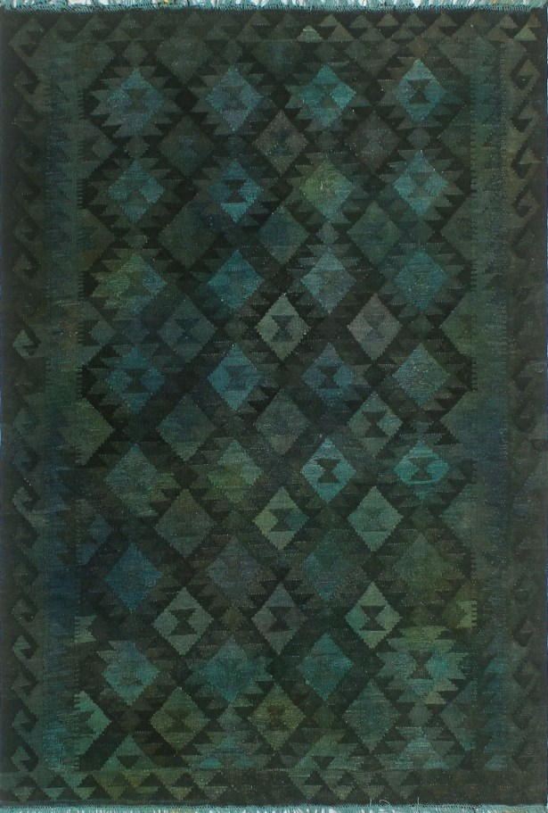 Earle Hand-Knotted Wool Dark Green Area Rug