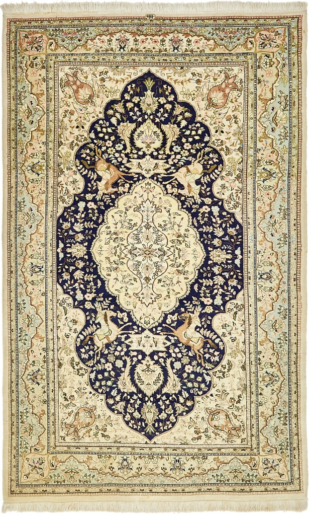 One-of-a-Kind Breckenridge Hand-Knotted Wool Beige/Blue Area Rug