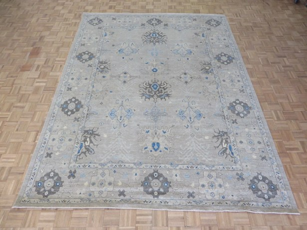 One-of-a-Kind Beaumont Oushak Hand-Knotted Wool Beige Area Rug