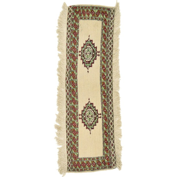 One-of-a-Kind Tekke Runner Hand-Knotted Wool Ivory Area Rug