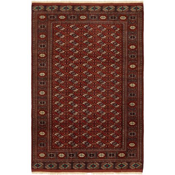 One-of-a-Kind Tekke Hand-Knotted Wool Rust Red Area Rug