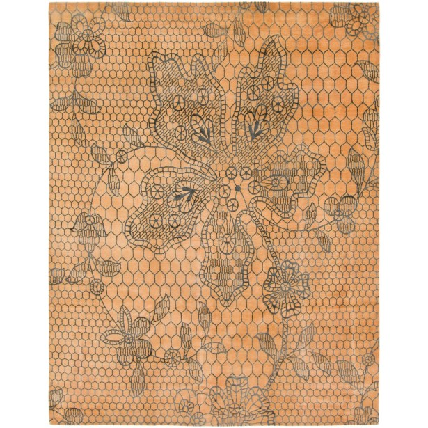 One-of-a-Kind Easton Hand-Knotted Wool/Silk Tan Area Rug