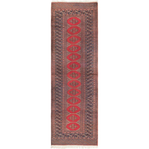 One-of-a-Kind Tekke Runner Hand-Knotted Wool Red Area Rug