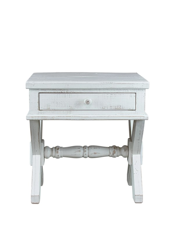 Post End Table with Storage Color: White
