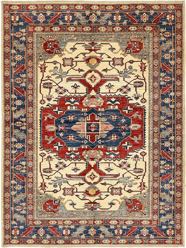One-of-a-Kind Alayna Hand-Knotted Wool Red/Beige/Blue Area Rug