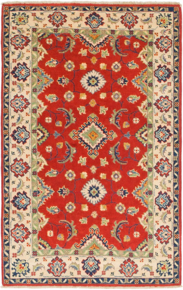 One-of-a-Kind Alayna Hand-Knotted Beige/Red Area Rug