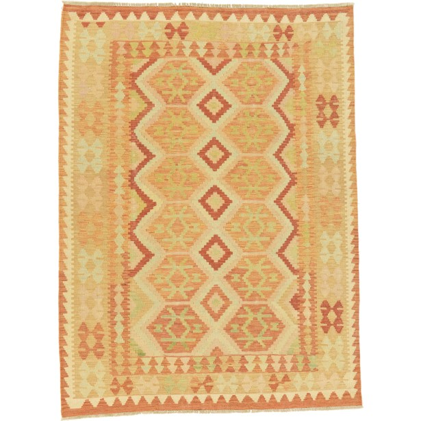 One-of-a-Kind Elland Hand-Knotted Wool Rust Red Area Rug