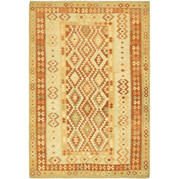 One-of-a-Kind Elland Hand-Knotted Wool Light Green Area Rug
