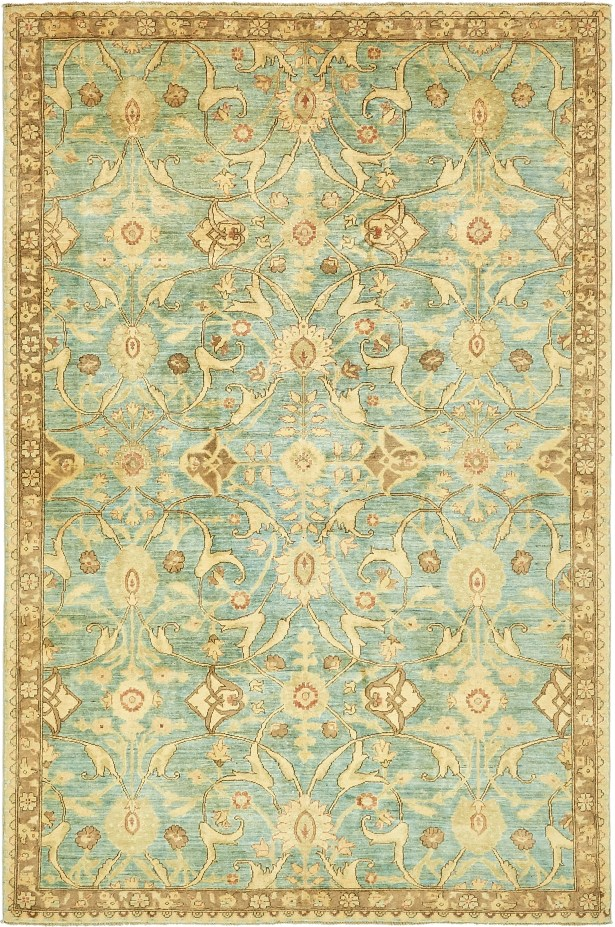 One-of-a-Kind Huntingdon Hand-Knotted Wool Beige/Blue Area Rug