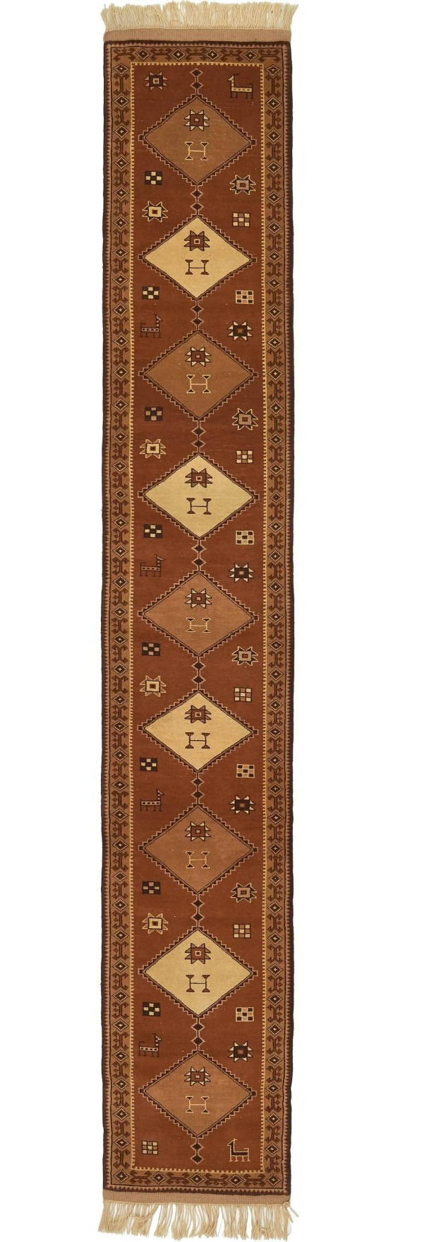 One-of-a-Kind Leitha Runner Hand-Knotted Wool Brown Area Rug