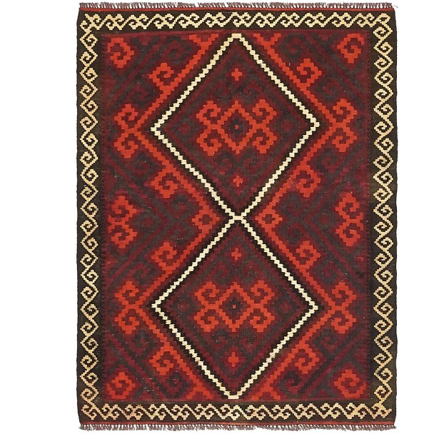 One-of-a-Kind Doorfield Hand-Knotted Wool 3' x 4' Black/Red Area Rug