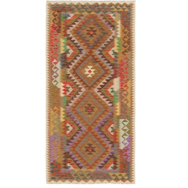 One-of-a-Kind Woodbridge Kilim Maymana Hand-Knotted Wool 3'3