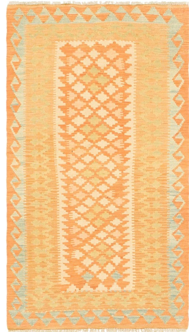 One-of-a-Kind Elland Hand-Knotted Wool Orange Area Rug