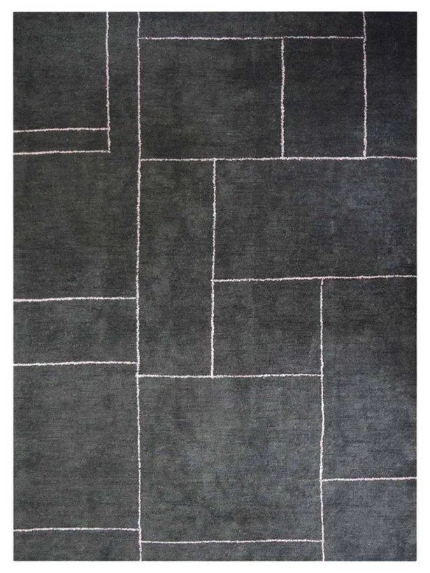 Jazlyn Gabbeh Hand-Knotted Silk Charcoal Area Rug Rug Size: Rectangle 6' x 9'