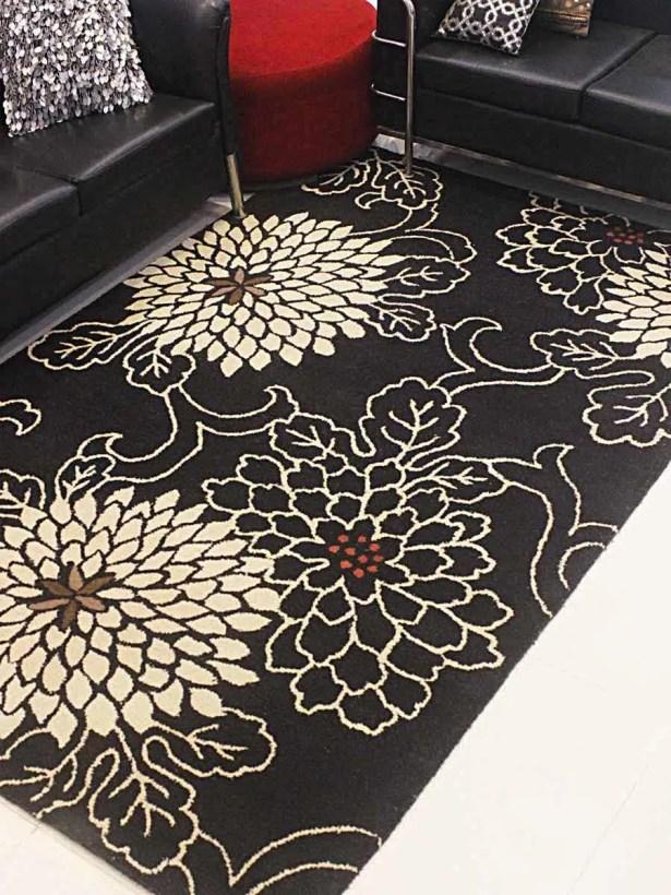 Kisner Hand-Tufted Wool Black/Cream Area Rug Rug Size: Rectangle 8' x 11'