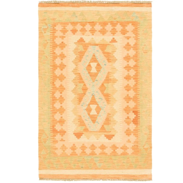 One-of-a-Kind Elland Hand-Knotted Wool Peach/Green Area Rug