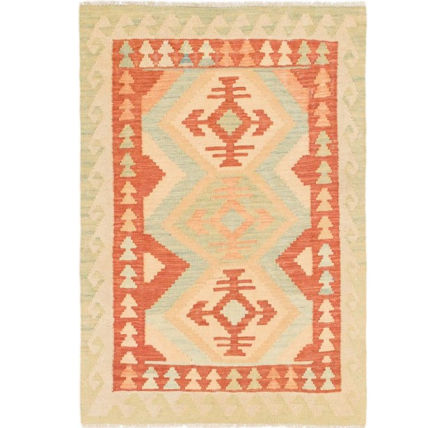 One-of-a-Kind Elland Hand-Knotted Wool Red/Green Area Rug