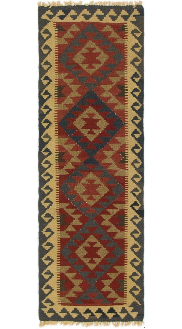 One-of-a-Kind Enola Kilim Maymana Hand-Knotted Wool 2' x 6'2