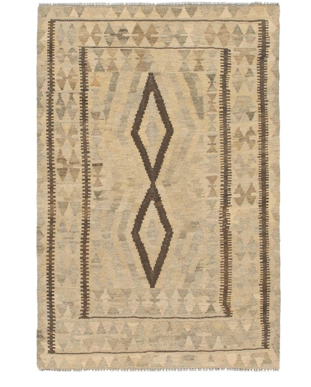One-of-a-Kind Rondo Kilim Maymana Hand-Knotted Wool 3'5