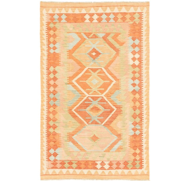 One-of-a-Kind Elland Hand-Knotted Wool Peach/Rust Red Area Rug