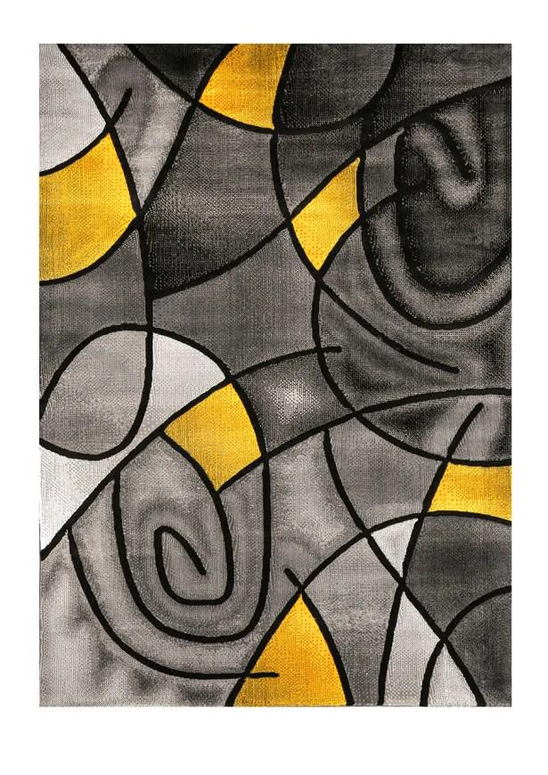 Eastbourne Charcoal/Yellow Indoor/Outdoor Area Rug Rug Size: Rectangle 7'9