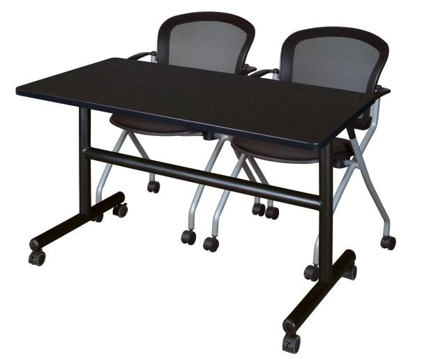 Vazquez Flip Top Mobile Training Table Tabletop Finish: Mahogany, Size: 29
