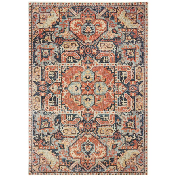 Pateros Distressed Tribal Blue/Orange Area Rug Rug Size: Rectangle 6'7