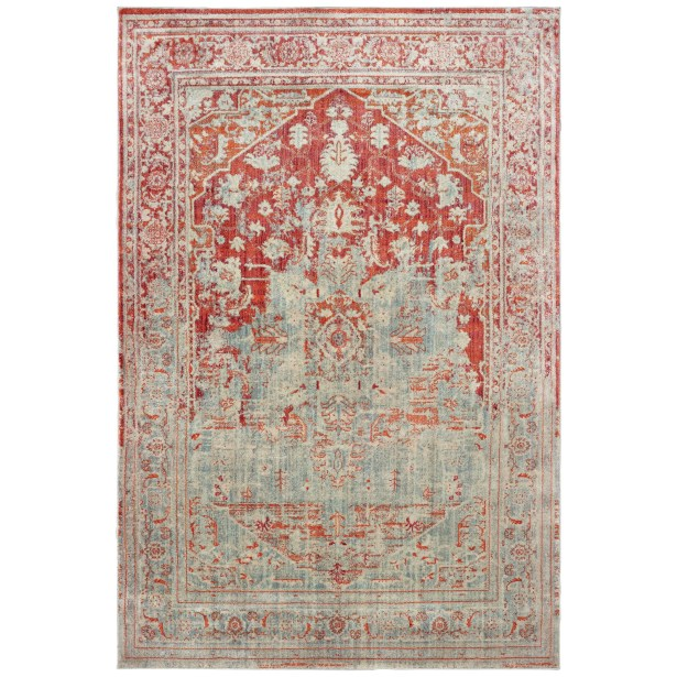 Pateros Faded Medallion Gray/Orange Area Rug Rug Size: Runner 2'3