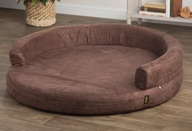 Fala Deluxe Orthopedic Memory Foam Round Lounge Dog Sofa Color: Brown, Size: Extra Large (50
