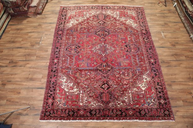 One-of-a-Kind Nisbet Vintage Traditional Heriz Persian Hand-Knotted 9'8