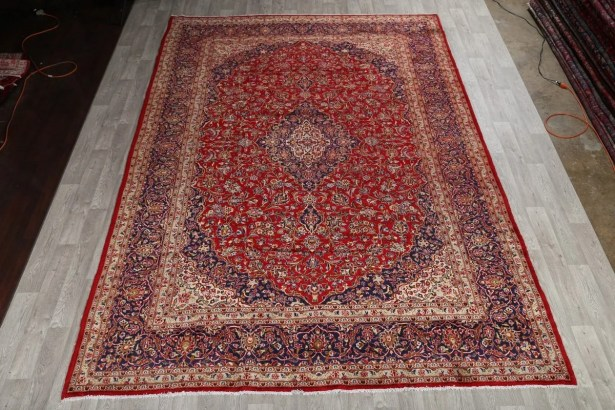 One-of-a-Kind Classical Kashan Persian Hand-Knotted 9'9