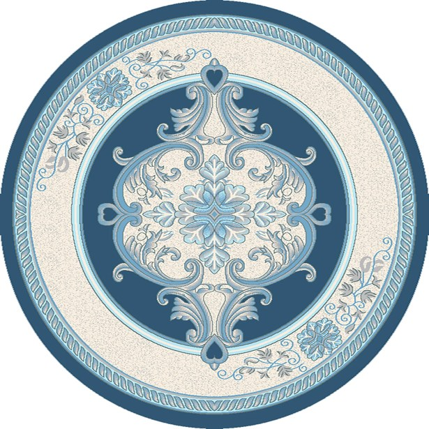 Ramsel 3D Traditional Oriental Floral Aqua Area Rug Rug Size: Round 5'3