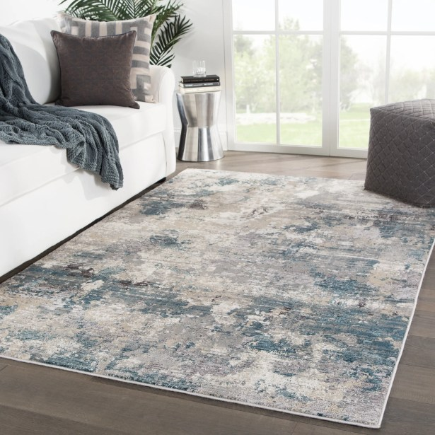 Middlebury Abstract Blue/Cream Area Rug Rug Size: Rectangle 5'3