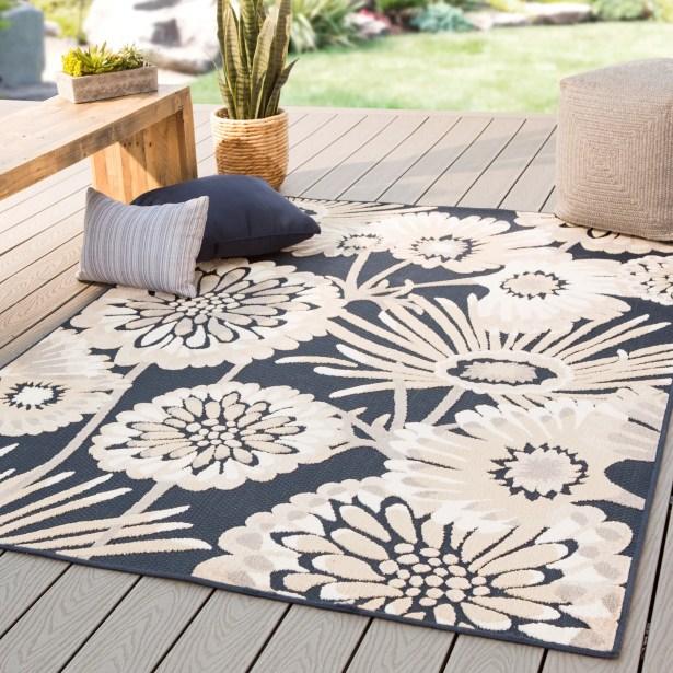 Tabb Floral Beige/Black Indoor/Outdoor Area Rug Rug Size: Rectangle 5'3