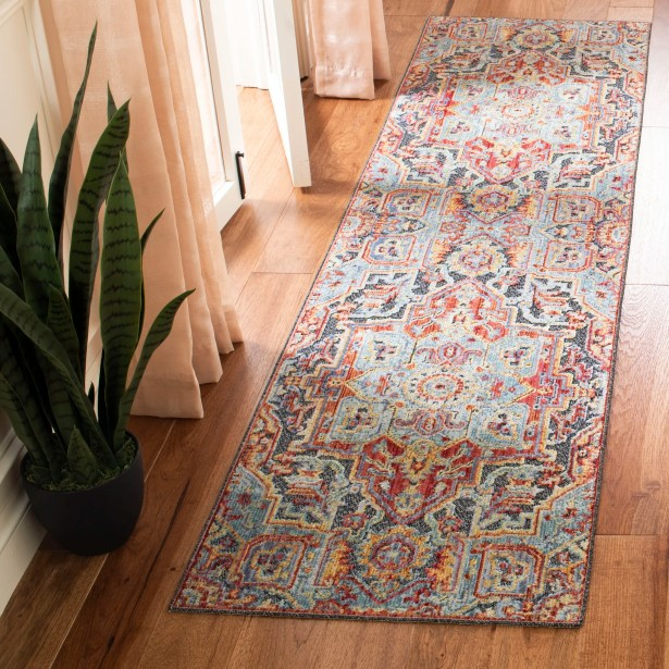 Pounds Aqua/Red Area Rug Rug Size: Runner 2' X 8'
