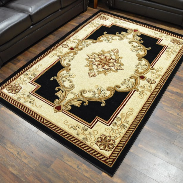 Ramsel 3D Traditional Oriental Floral Black Area Rug Rug Size: Rectangle 7'9