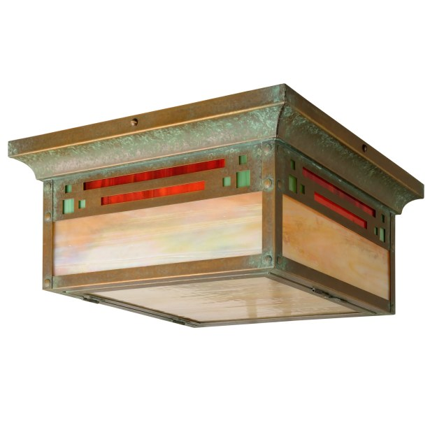 Polson 1-Light Flush Mount Fixture Finish: Architectural Bronze, Shade Color: Gold Iridescent