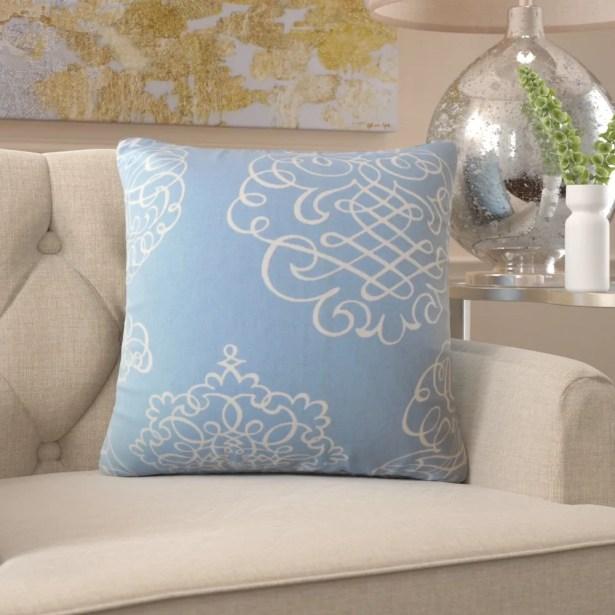 Burgess Damask Cotton Pillow Size: 24