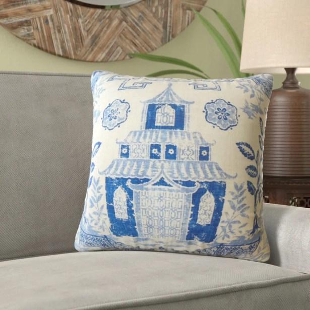 Mizpah Chinoiserie Linen Pillow Size: 24