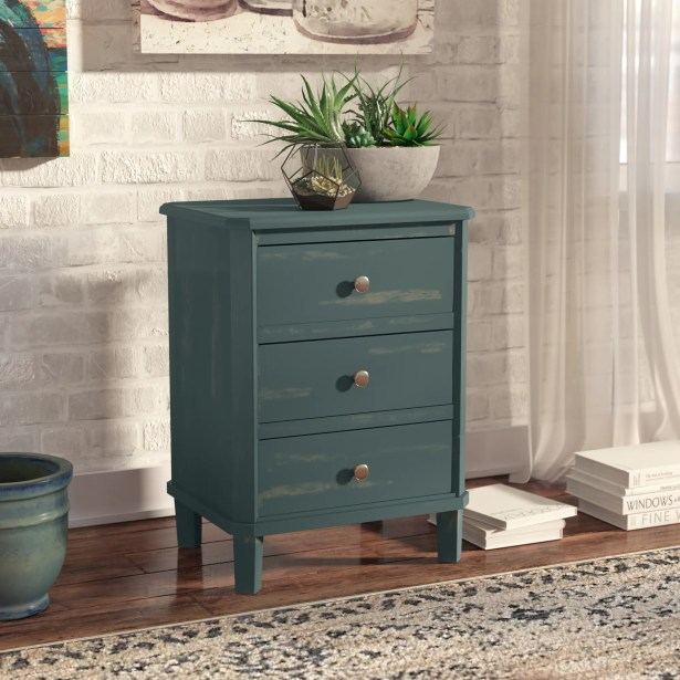 Milani End Table With Storage Color: Steel Teal
