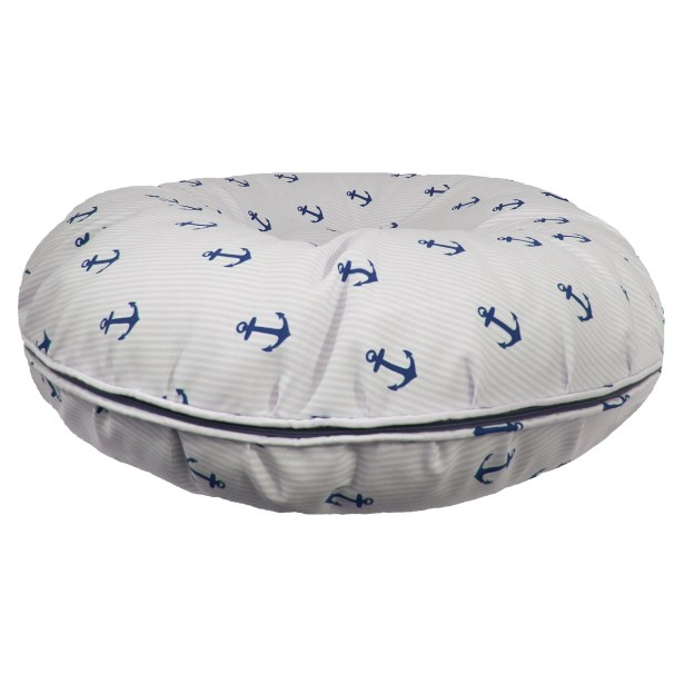 Bagel Navy Anchor Pillow Size: Extra-Small (24