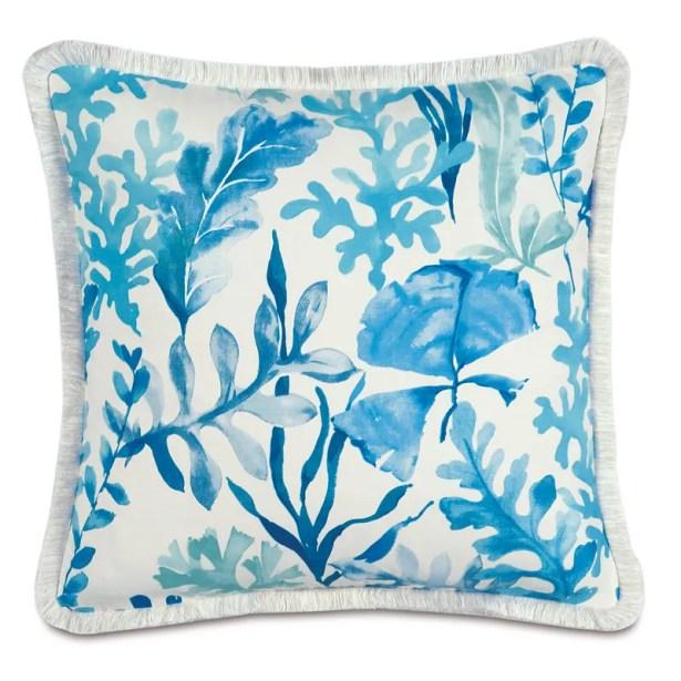 Olympia Azure Brush Fringe Throw Pillow